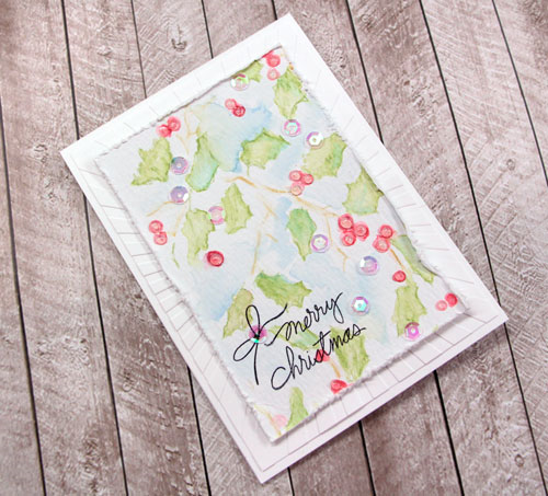 Christmas Watercolor Card by Julia Stainton - using stencils with watercolor pencils