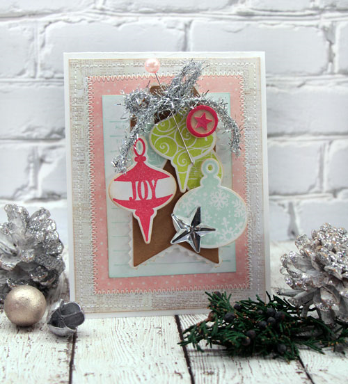 Joy Ornament Holiday Card by Julia Stainton for the CLASSroom featuring Taylored Expressions stamps and dies