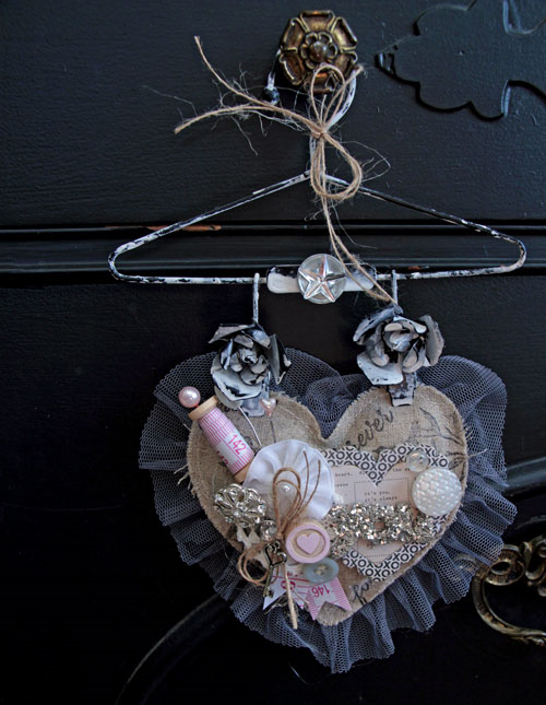 Altered Linen Heart Valentine Decor by Julia Stainton for the CLASSroom