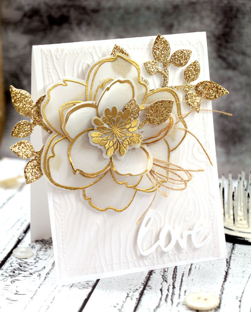 Gold and Vellum Mondo Magnolia Card by Julia Stainton for the CLASSroom