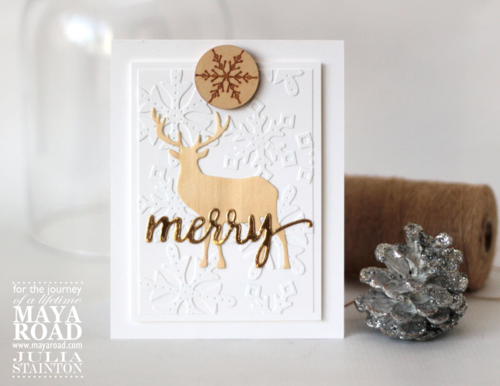 Wood Diecut Deer Merry Christmas Card by Julia Stainton