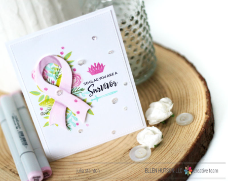 Breast Cancer Survivor Card by Julia Stainton featuring the Courage Stamp set from Ellen Hutson LLC