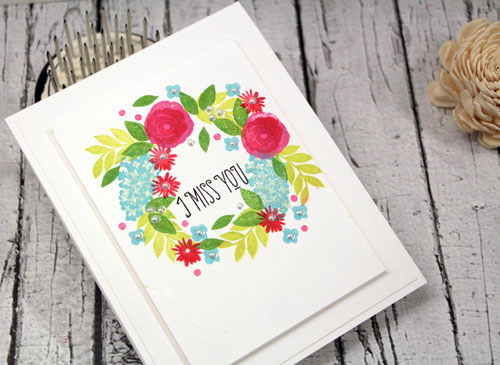 Red White & Blue Stamped Wreath Miss You Card by Julia Stainton