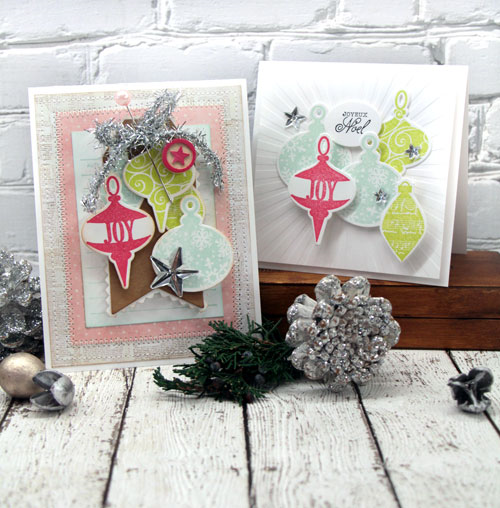 Shiny and Bright Ornaments Cards in two styles by Julia Stainton for the CLASSroom