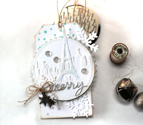 Merry Christmas Paris Snowflake Tag